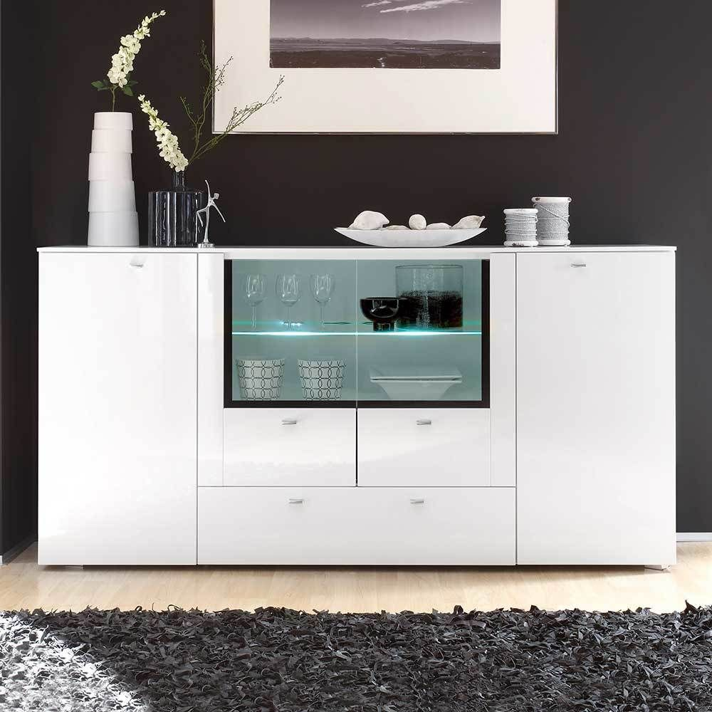 Wohnzimmer Sideboard In Hochglanz Weiß Glas 200 Cm Jetzt Bestellen Unter:  Https://