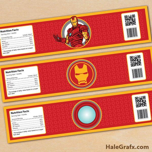 Free Printable Iron Man Water Bottle Labels | ( Free Printable
