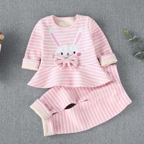 f39ef51bfdbb Adorable 2-piece Rabbit Applique Striped Top and Pants Set   PatPat ...