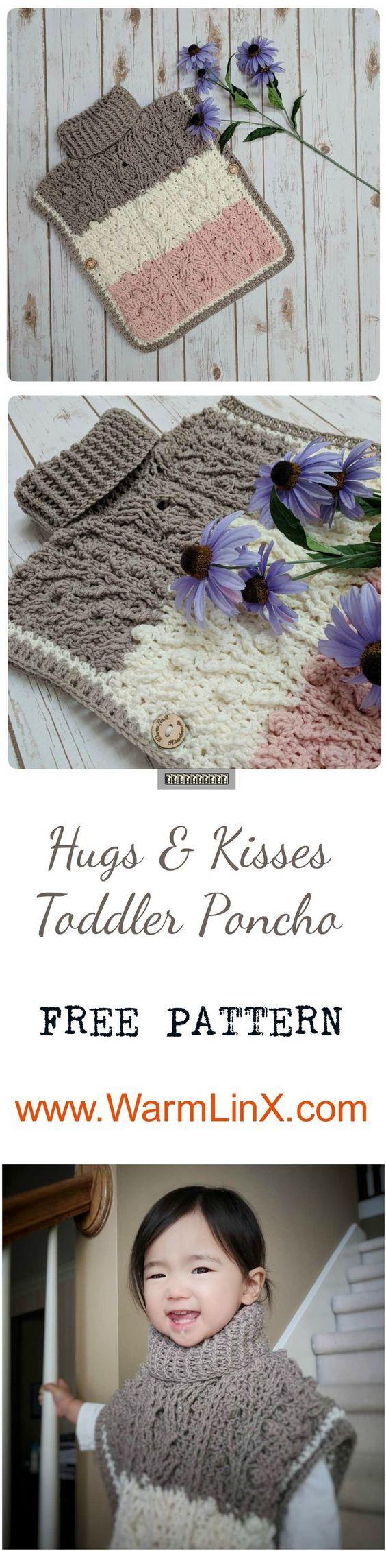 "Hugs & Kisses Toddler Poncho ""Neapolitan ice cream"" Crochet Pattern ..."