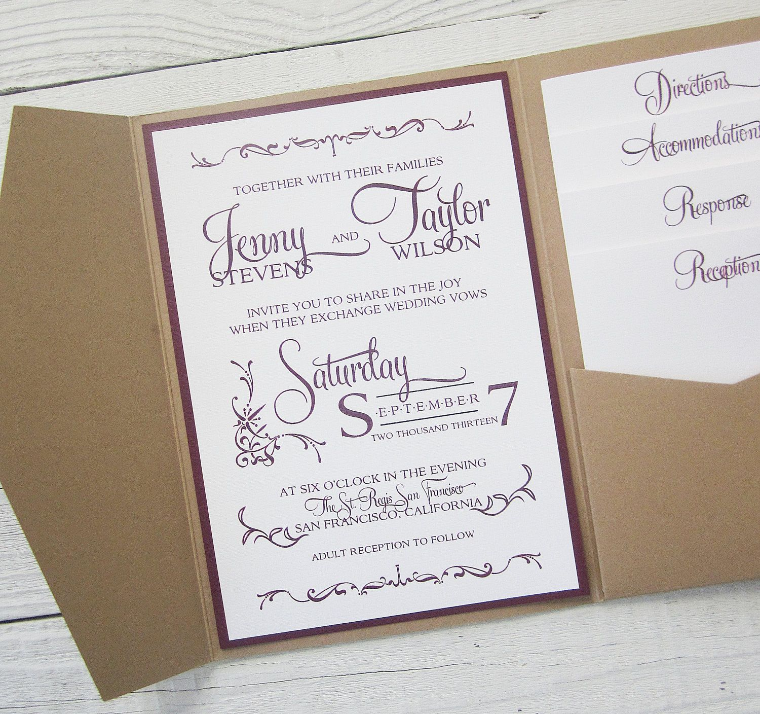 Rustic Kraft Wedding Invitation - Pocket Country Twine Purple Maroon ...