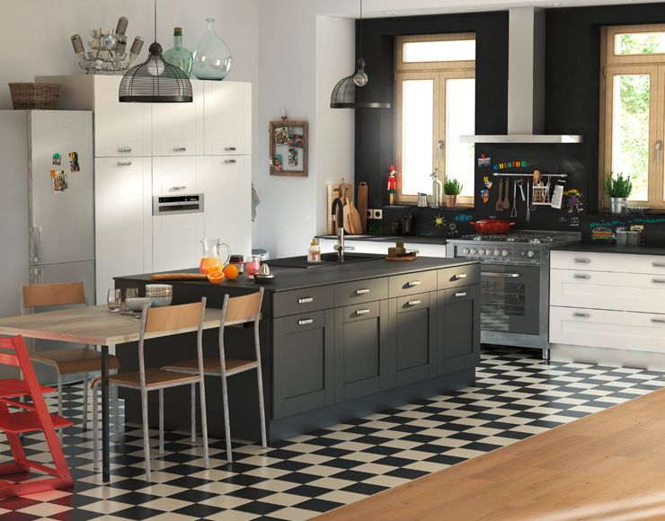 Castorama Kadral Noir Meuble Cuisine Plan Cuisine Cuisine Noire