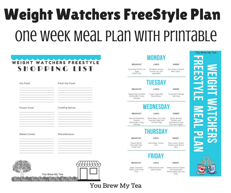 Weight Watchers Freestyle Plan One Week Menu Plan   Weight
