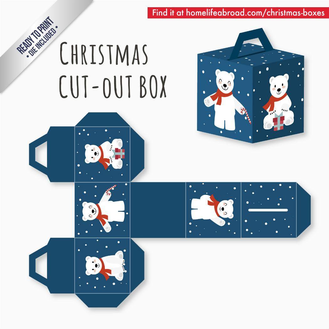 Blue Polar Bear Christmas Cut-Out Box - with ready to print ...