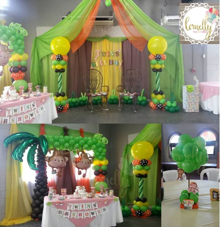 Monkey twins baby shower balloons decorations jungle for Decoration theme jardin