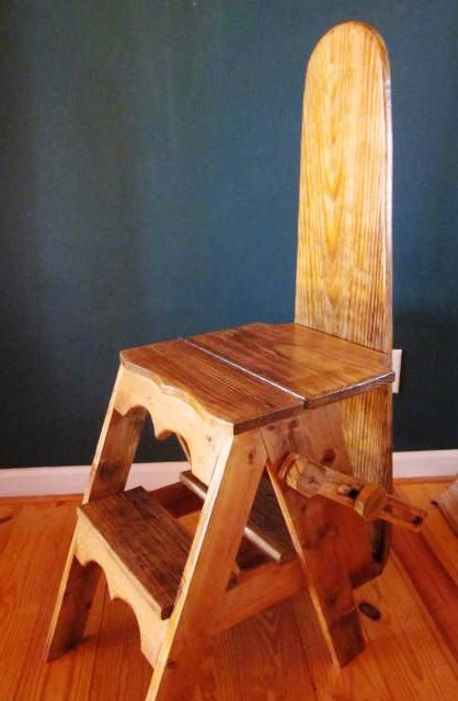 The Jefferson Bachelor Chair / Step Stool / Ironing Board from reclaimed  distressed pine - The Jefferson Bachelor Chair / Step Stool / Ironing Board From