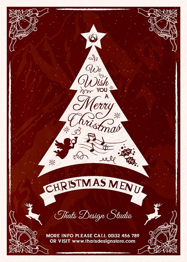 Check out Valentines Day Flyer + Menu Template by ThatsDesignStore - christmas menu word template