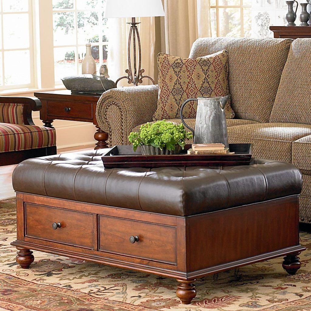 Bassett furniture coffee table ottoman leather ottoman