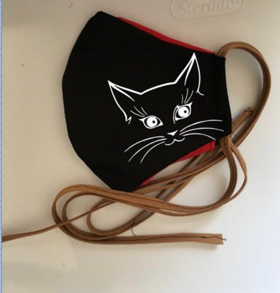 Photo of cat face mask, kitten Cotton 2 layer cover, USA