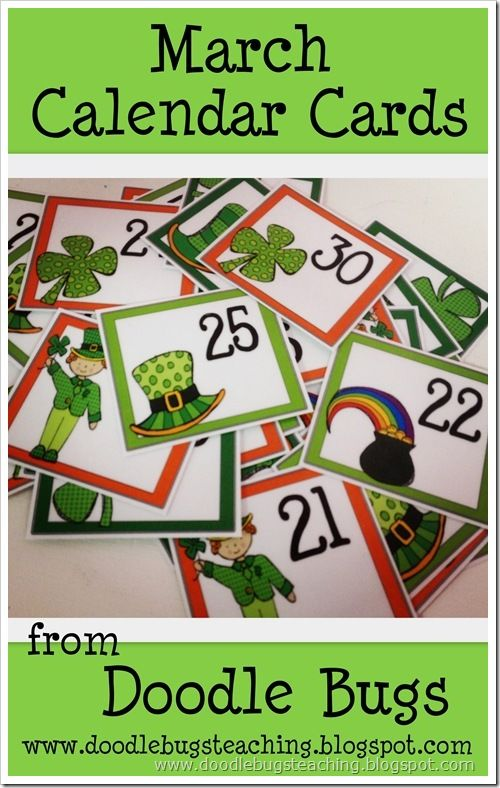 March Calendar Cards. The February ones were such a treat I think we will use these as well.