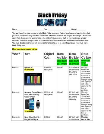 Black Friday Blowout Summative Assessment Middle School Math