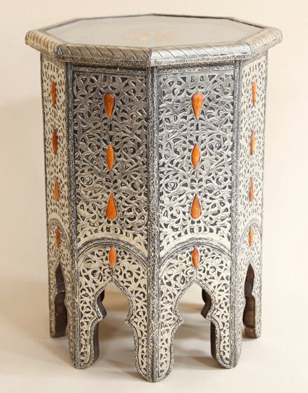 Superior White Metal Bone Encrusted Moroccan Side Table : Moroccan Bazaar