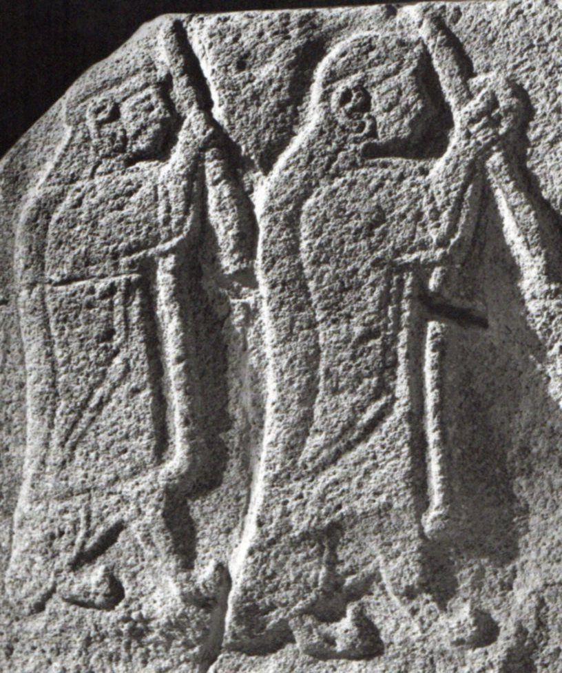 Hittite, two men armed with spears, Alaca Höyük, Museum of Anatolian Civilization, Ankara  (Kurt Bittel) (Erdinç Bakla archive)