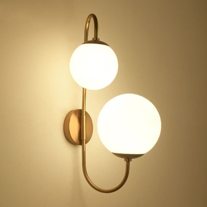 Modern chic milky white globe glass shade two light indoor wall lamp in aged brass indoor sconces wall lights lighting