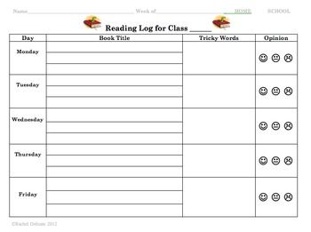 K Reading Log Template  Ell    Reading Logs