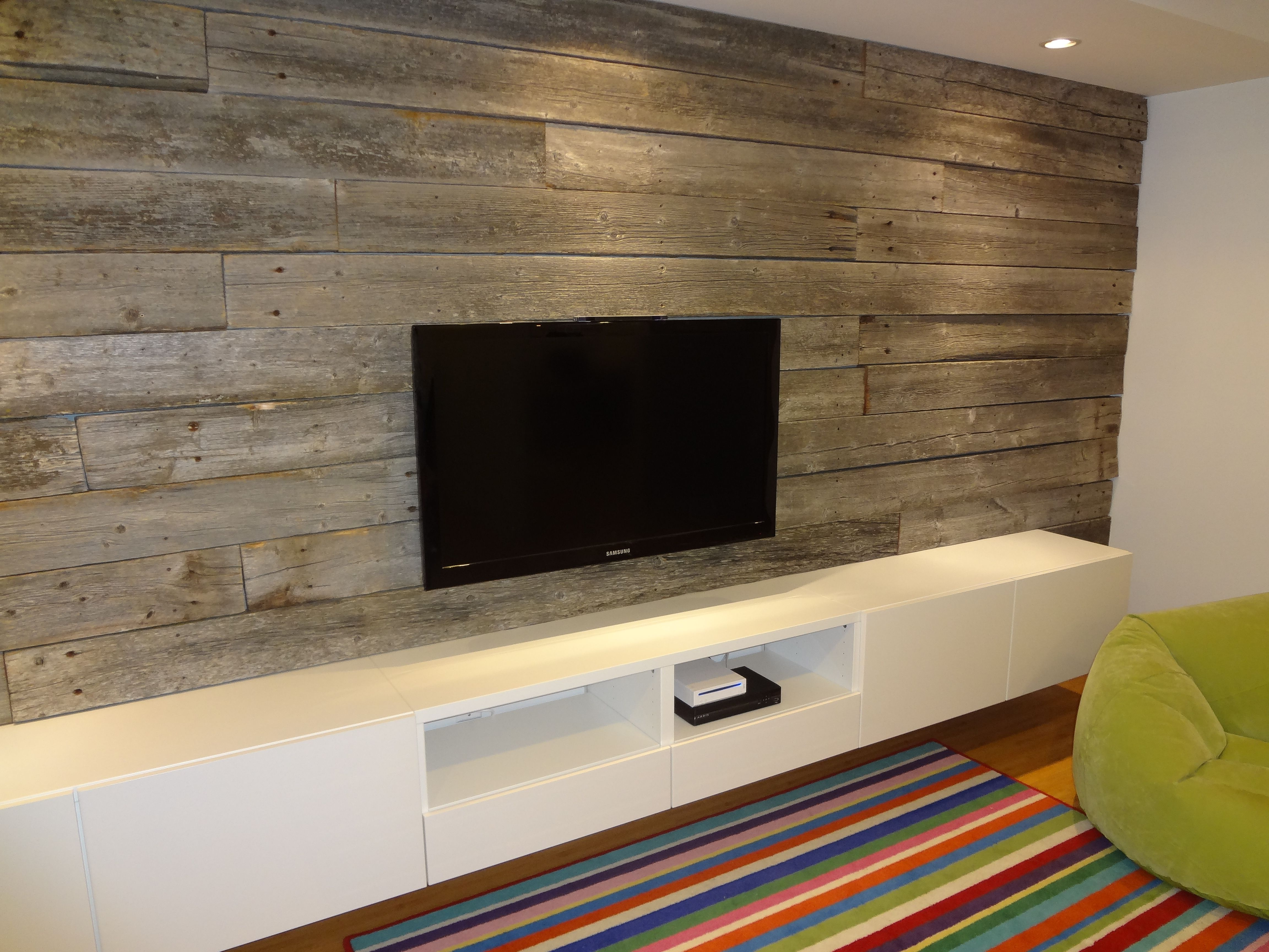 Modern Barn board Basement Wall. TV too small, reclaimed ...
