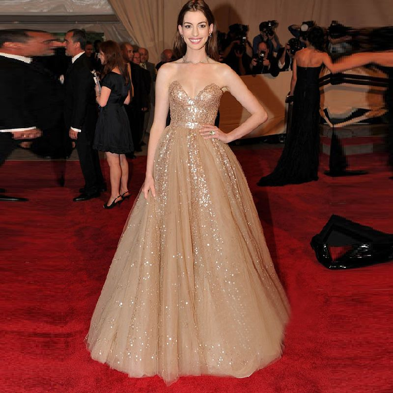 Long Evening Dress Sparkling Formal Anne Hathaway Celebrity ...