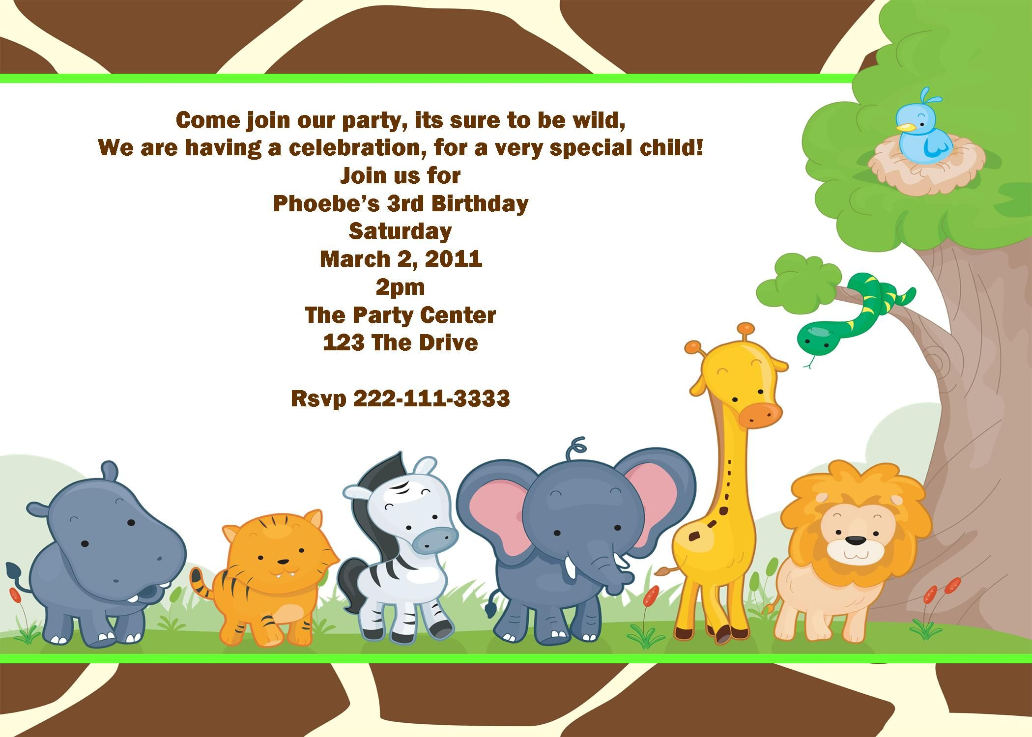 Boys Safari Jungle Birthday Invitation | bebe | Pinterest ...