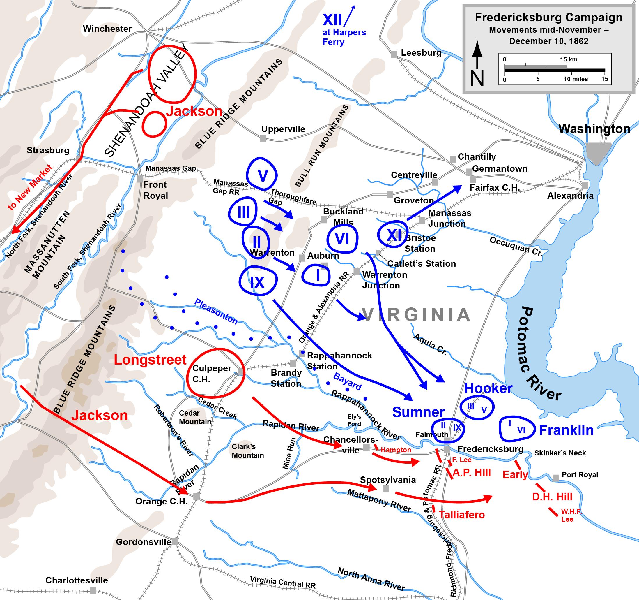 Map Battle Of Fredericksburg Overview December The - Us map initials