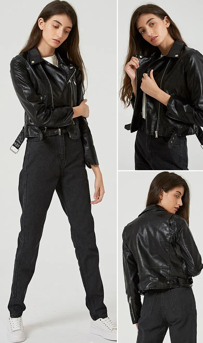 Women Classic Solid Faux Leather Jackets Denim Jacket Women Denim Women Fashion Buttons [ 1320 x 780 Pixel ]