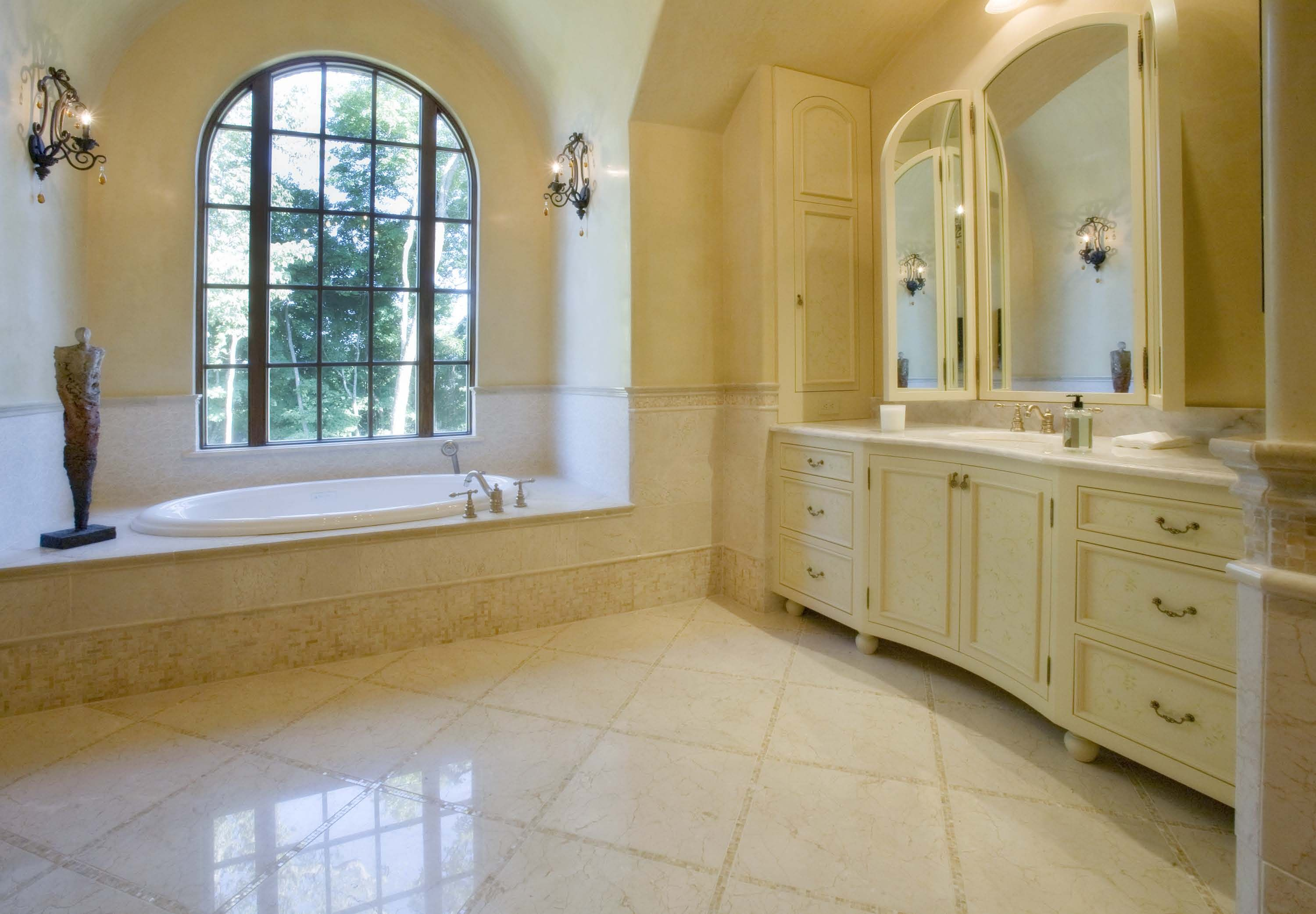 Floor tiles gallery gallery bathrooms hb crema marfil for Master bathroom marble tile