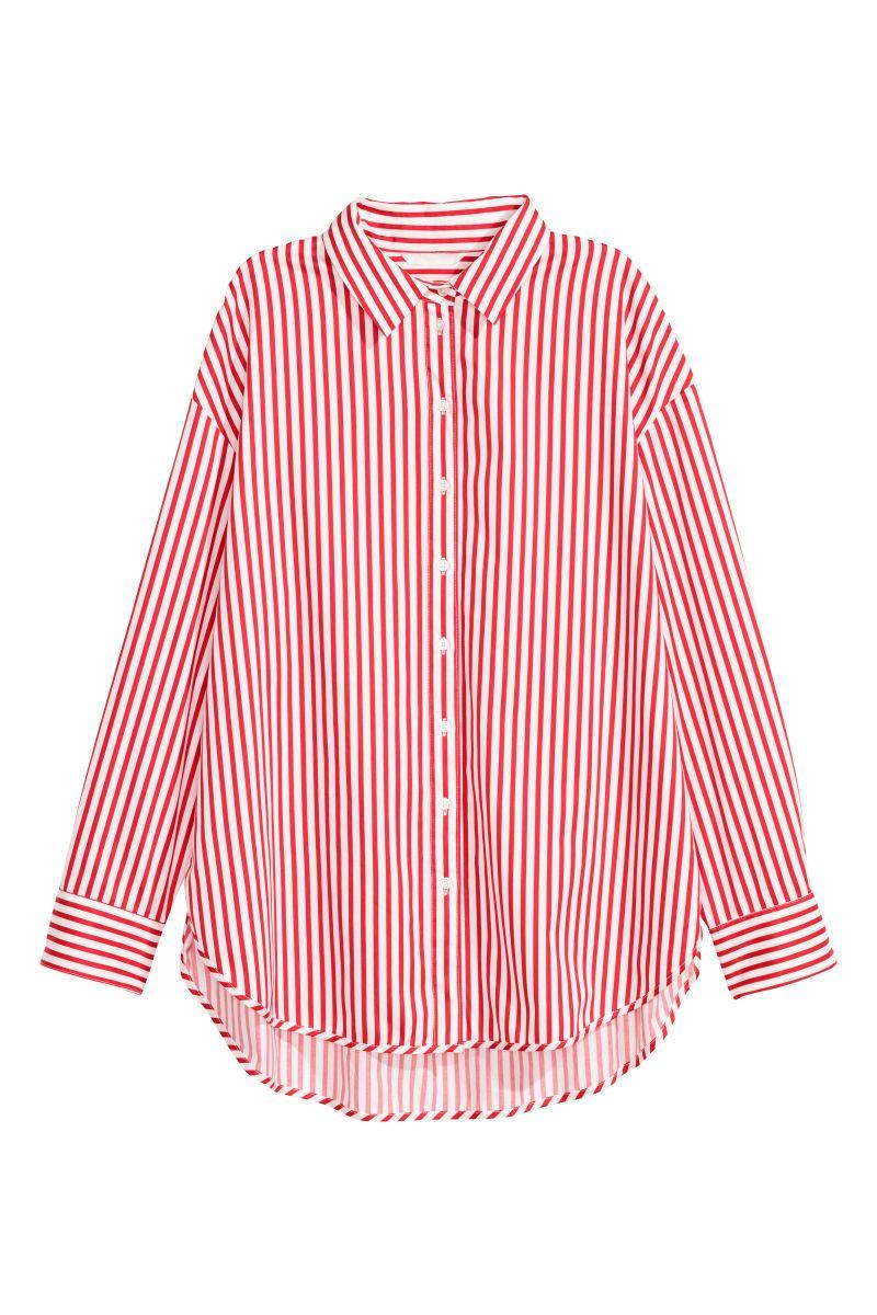 disfruta del envío gratis proveedor oficial comprar lujo Camisa de algodón | Rojo vivo/Rayas | MUJER | H&M MX ...