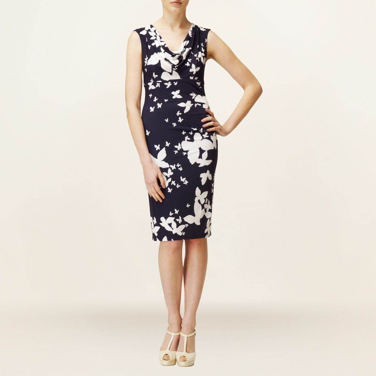 Phase Eight Navy And Cream Butterfly Cowl Front Dress- at Debenhams ...