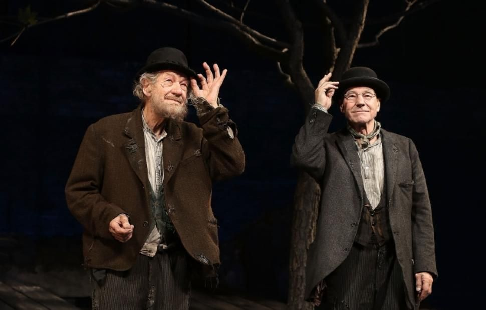 Ian Mckellen And Patrick Stewart During The Opening Night Curtain Call For Waiting For Godot At The Cort The Theatre Of The Absurd Opening Night Ian Mckellen