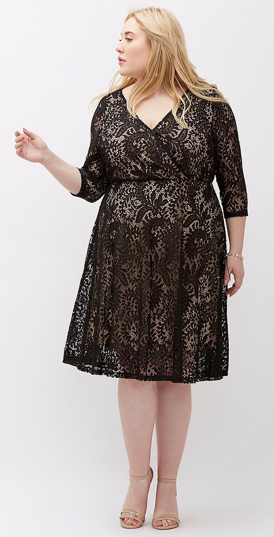 40d7ec71516 Plus Size Surplice Lace Fit   Flare Dress