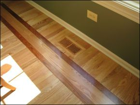 Wood Flooring With Cherry Inlay Raw Oak Wood Installed