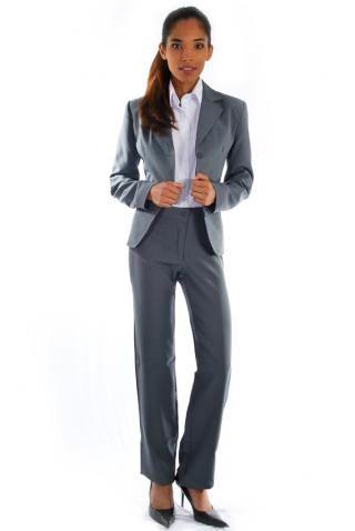 50a8f61ac5 Terno Social Oxford Cinza - Uniforme Feminino - Yoshida Hikari - Uniformes  Sociais para Empresas - uniformes sob medida