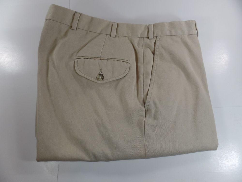 LL Bean Mens Khaki Chino Pants 40W 32L Beige Flat Front #LLBean #KhakisChinos