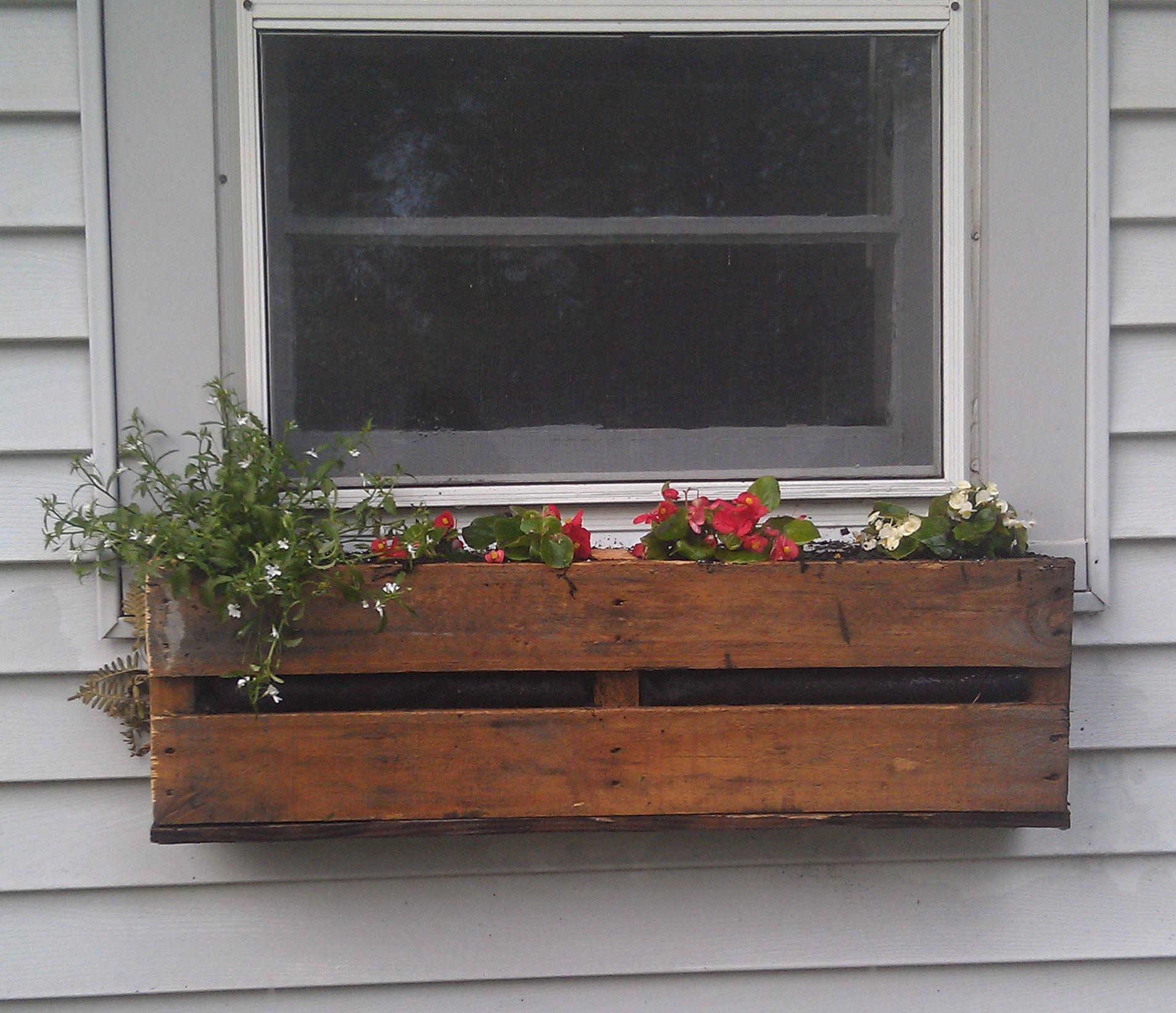 Pallet Planter Window planter boxes, Window box flowers