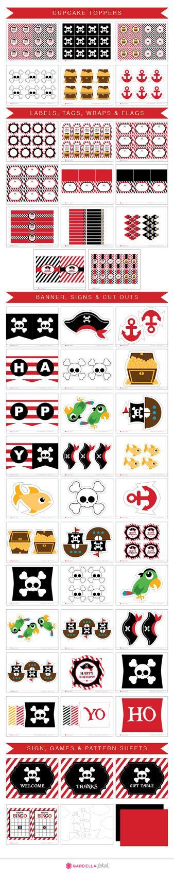 Pirate Birthday Party, Invitation, Thank you Card, Cupcake Toppers ...