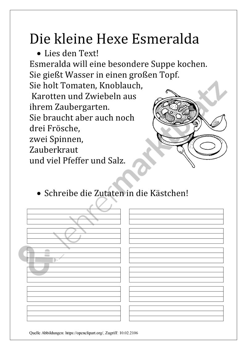 Hexensuppe: Übungen zum Leseverständnis – Deutsch ...
