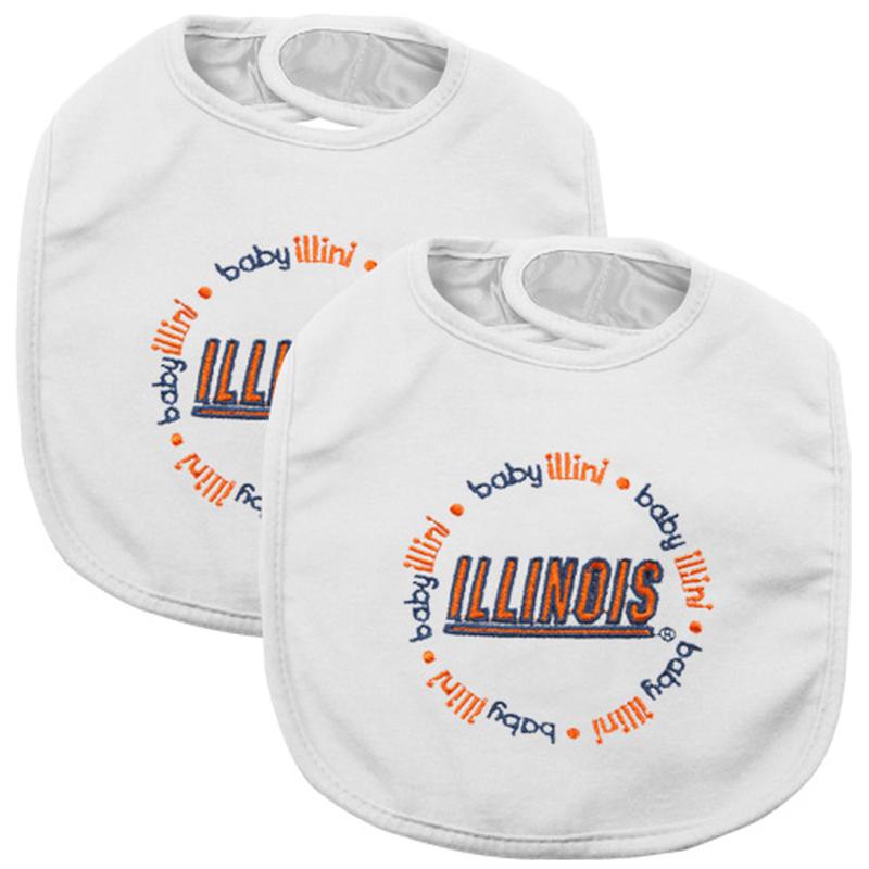 Illinois Fighting Illini Infant 2Pack Baby Bibs White