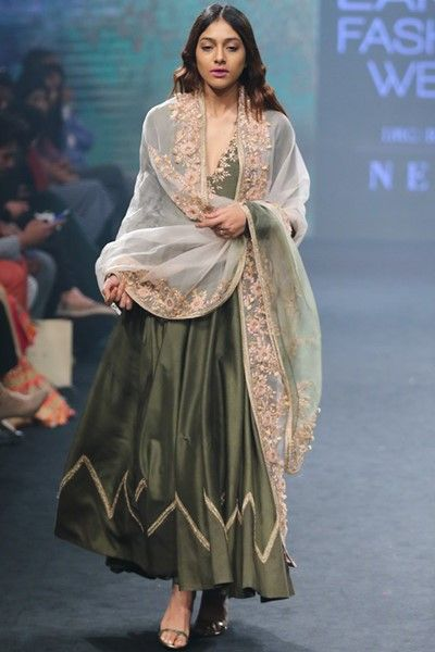 Olive green embroidered Anarkali set  #indiandesignerwear