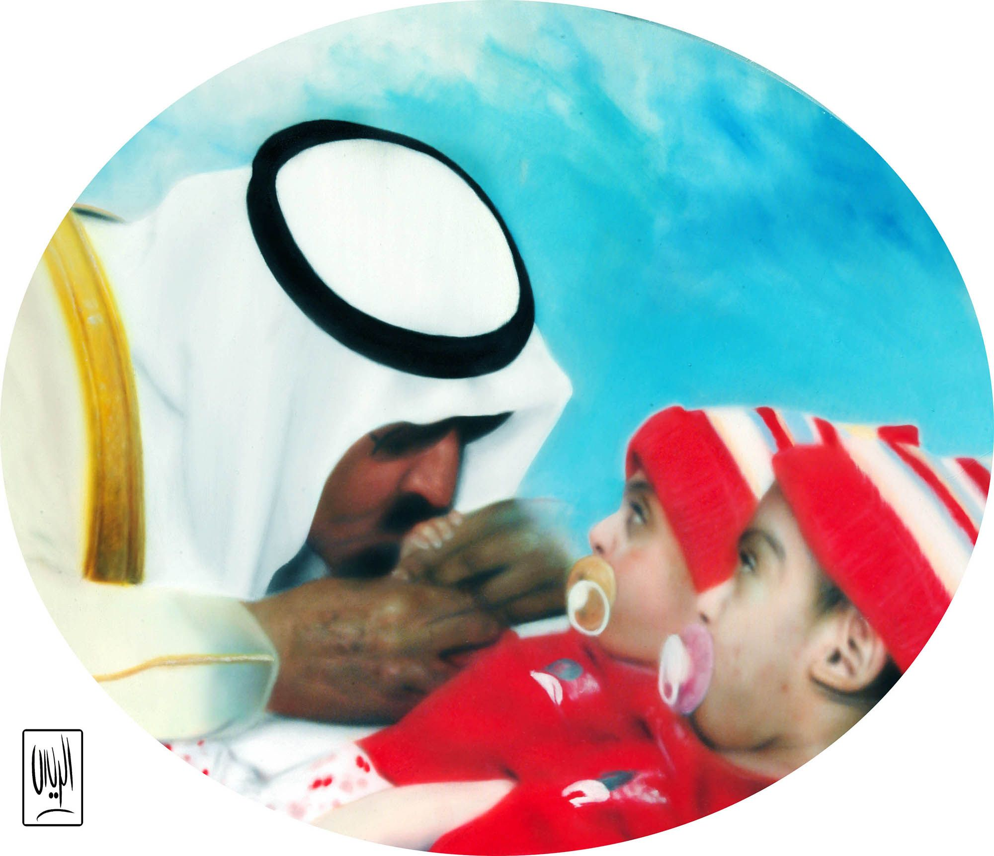 King Abdullah Oil Painting Cartoon Painting