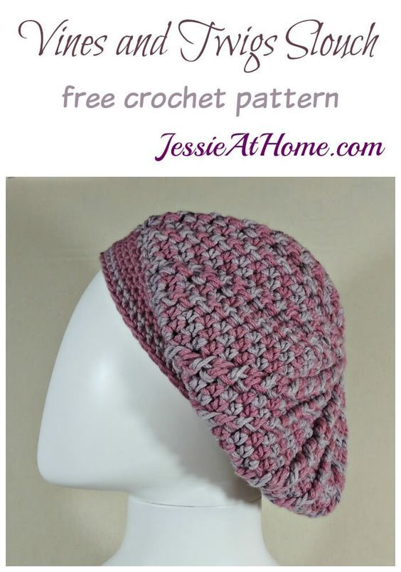 Vines and Twigs Slouch Hat free crochet pattern by Jessie At Home ...