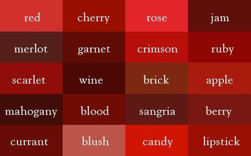 The Color Thesaurus Red Aesthetic