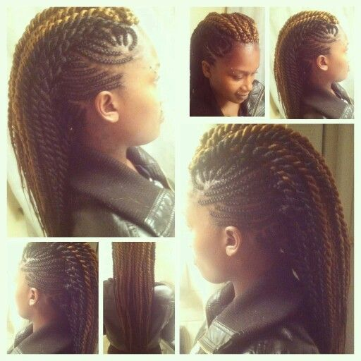 Mohawk With Marley Twist In Middle Natural Hair Braids Hair