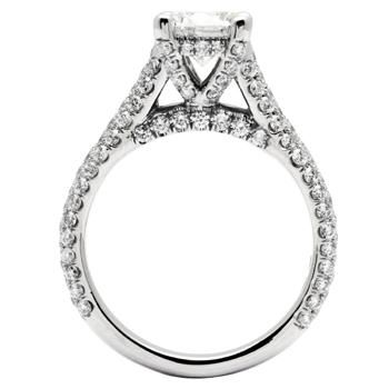 R1369 Side View Brilliant Pave Cathedral Style Engagement Ring Covered In 80 Ct Tw Of Diamonds Shown With A Round Center Stone Available White Gold