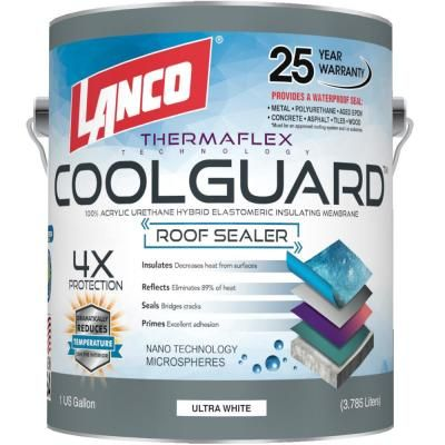 Lanco 1 Gal Coolguard 100 Acrylic Urethane Elastomeric Reflective Roof Coating With Dramatic Temperature Reduction Rc3700 4 The Home Depot In 2020 Rubber Roof Coating Roof Coating Roof Sealer