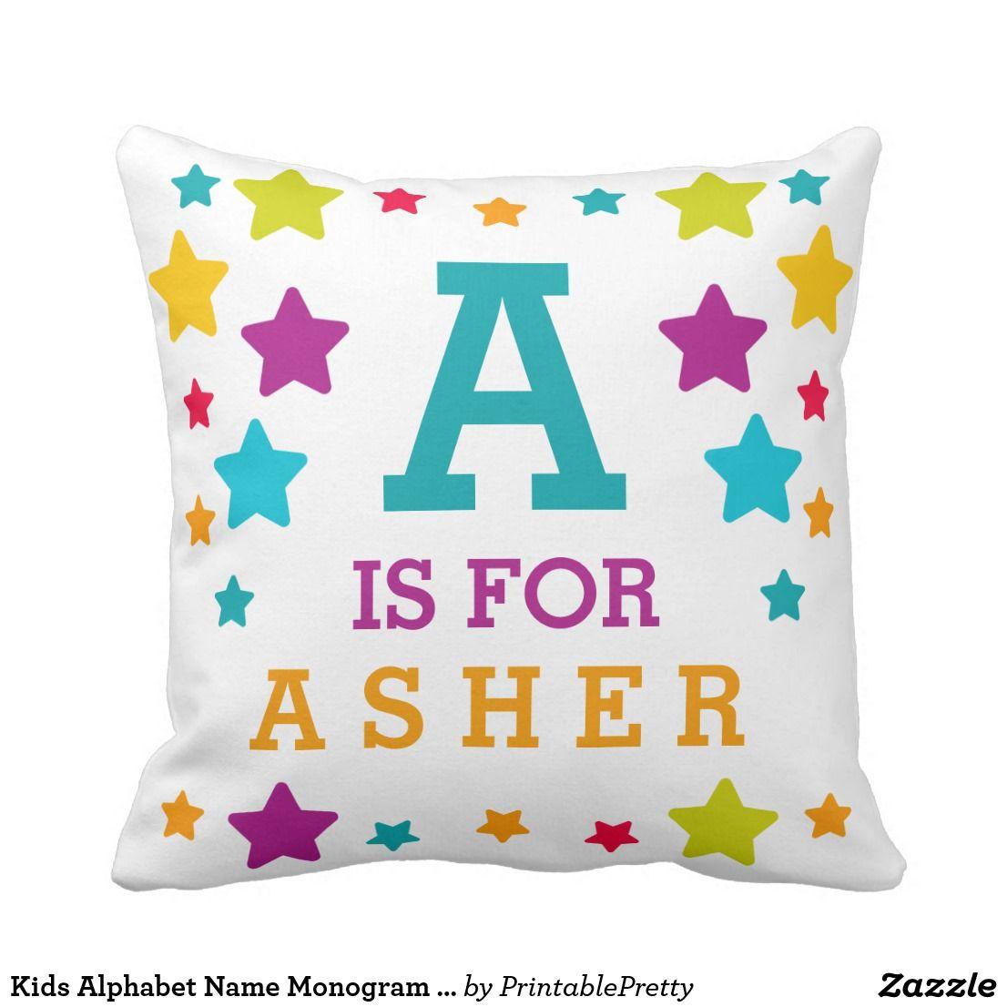Kids alphabet name monogram stars throw pillow in cute throw