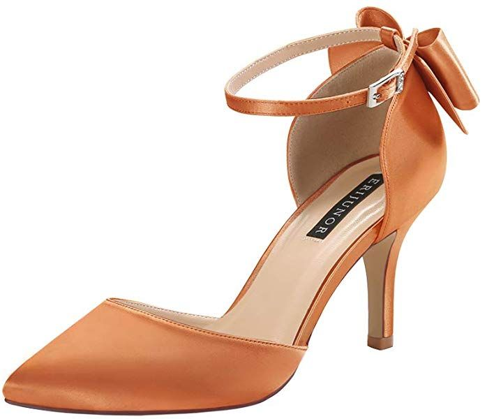 ERIJUNOR Wedding Evening Party Shoes Comfortable Mid Heels Pumps with Bow Knot Ankle Strap Wide Width Satin Shoes