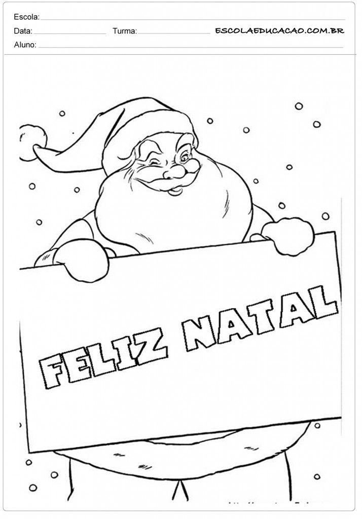 Feliz Natal Papai Noel Para Colorir Desenho De Papai Noel Para