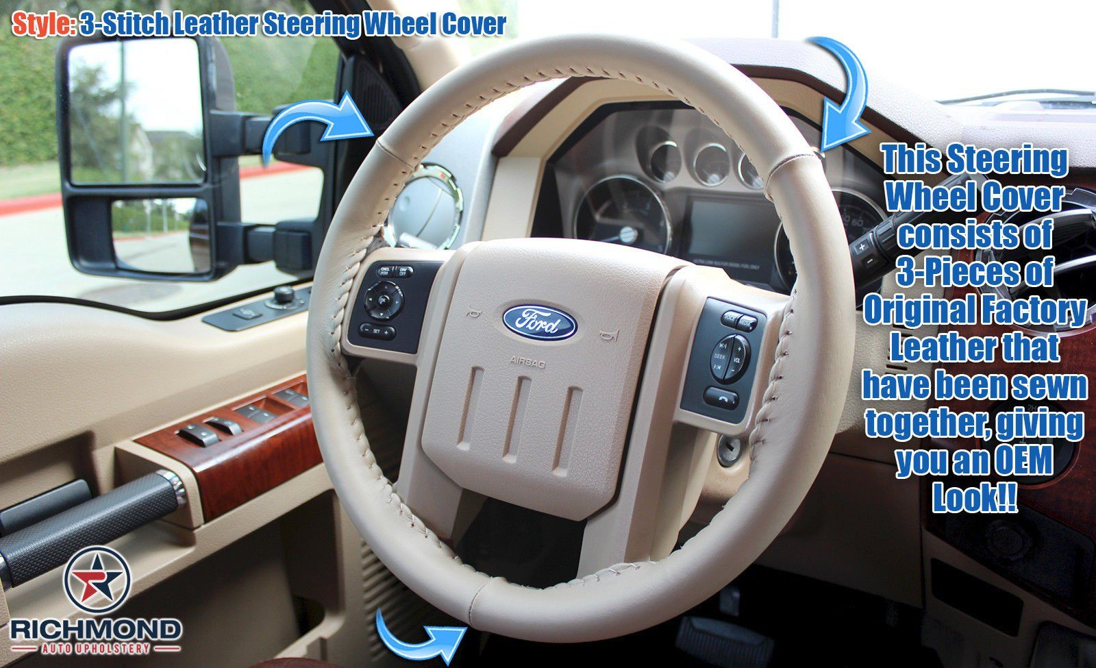 2008 Ford F250 F350 F450 F550 Lariat Leather Wrap Steering Wheel