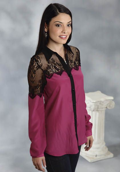 Roper Black & Magenta Georgette Blouse with Allover Scalloped Lace Edge: Sierra Western Wear #Western Fashion #Roper Fashion #Western Wear Fashion #Roper Fashion Blouse