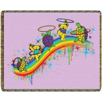 Grateful Dead - Rainbow Hoopers Woven Blanket - Even the dancing bears and terrapin turtles are hooping it up on this deluxe blanket. Snuggle up with this cozy blanket! Perfect for picnics, beach, traveling and late night fires. Also makes a great wall hanging. On sale at www.sunshinedaydream.biz