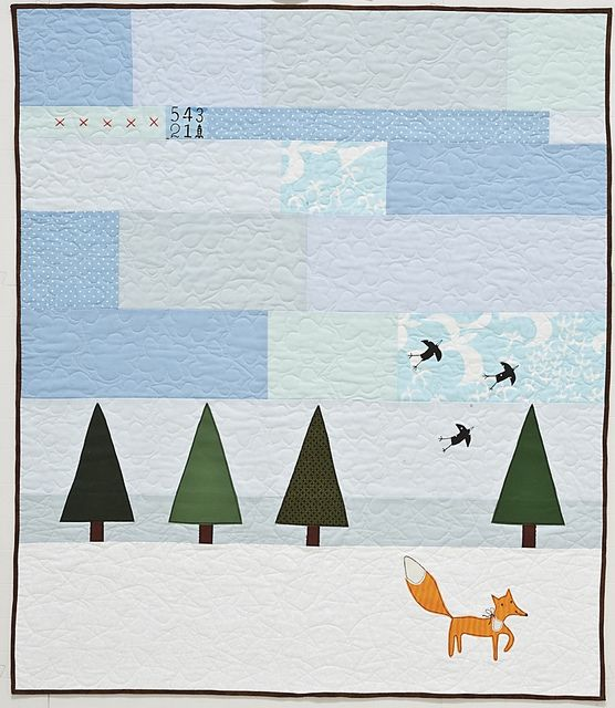 """Frosty Baby Quilt by Kajsa Wikman form her book """"Scandinavian Stitches"""". The quilt stitched clouds are too cute."""